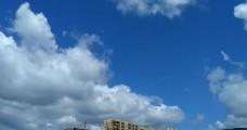 高楼上的蓝天白云延时摄影