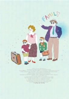 卡通家庭出游人物素材