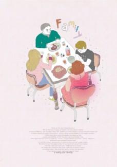 卡通家庭聚餐素材