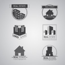 灰色扁平房地产广告图标