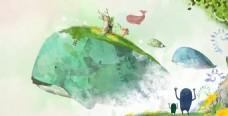 梦幻海洋动物背景