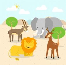 手绘非洲动物