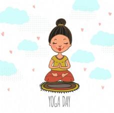 女孩做瑜伽背景