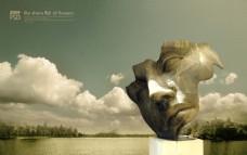 创意人面雕塑