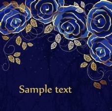 優雅花朵素材 藍色背景卡片
