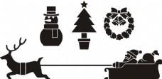 雪橇 圣诞老人 松树