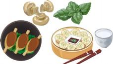 香菇 鸡腿 饺子 绿叶