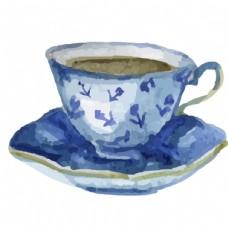 水彩茶杯矢量素材