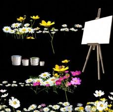 花朵 油漆桶 画架