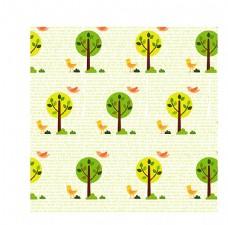 矢量卡通手绘树 可爱小鸟