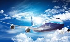 藍天白云飛機