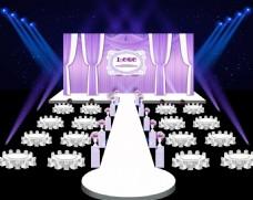 紫色歐式布?;槎Y舞臺