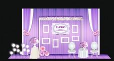 紫色布幔迎宾区效果图