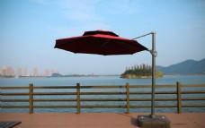 一园3米双顶酒红色罗马伞侧立图