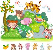 户外儿童动物游玩素材