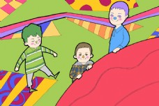 儿童玩耍卡通漫画草地