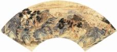 石湖图扇形装饰画