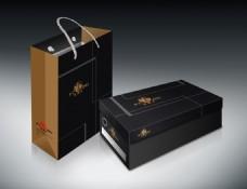 皮鞋包装展开图包含手提袋三包卡