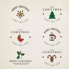 圣诞标签 圣诞logo 圣诞素