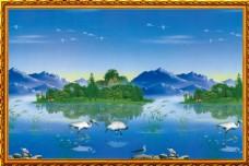 湖水风景中堂画图片