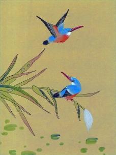 两只小鸟与植物图片