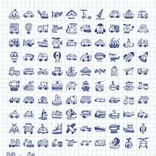 蓝色交通图标图片