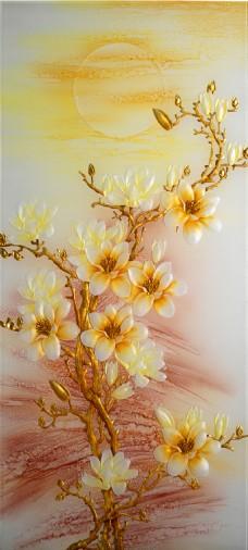 白色花瓣浮雕装饰背景墙