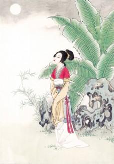 叶子与美女国画图片