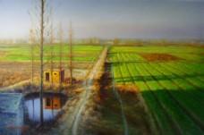 一望无垠的田野油画图片