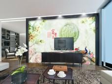 粉色花卉电视背景墙设计素材