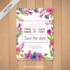 鲜花装饰的婚礼请柬