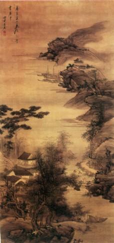 国画树木与屋子图片