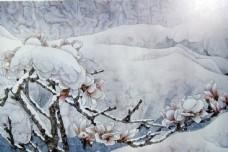 冬天风景国画图片