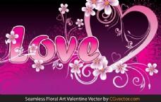 无缝花艺Valentine Vector