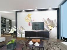 白色花卉玉雕时尚背景墙设计素材