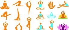 运动类瑜伽各种动作素材