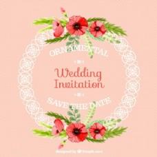 装饰圆框婚礼卡