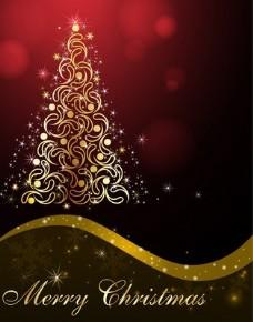 与纠结的树和文本的圣诞背景