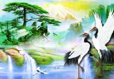 松鹤延年油画中式背景墙