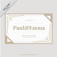带角饰品的结婚卡