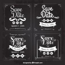 四婚礼卡片保存日期,方形形状