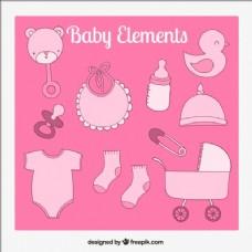 粉红色调的婴儿元素