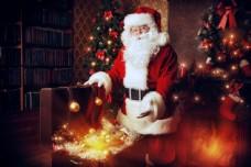 圣诞球与圣诞老人图片