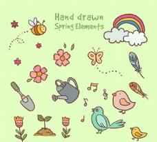 15款手绘春季元素矢量素材