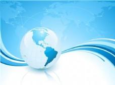 蓝色波浪背景与世界地图和行星