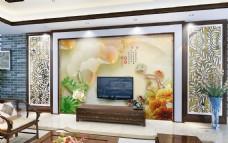 水墨荷花玉石雕刻背景墙设计素材