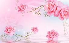浪漫玫瑰电视背景墙