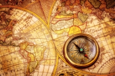航海地图与指南针图片
