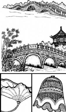 线描中国古建筑