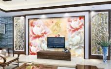 玉雕花开电视背景墙设计素材模板